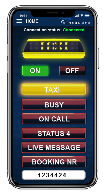 Control your iToplight taxi sign from Pointguard's app for iOS and Android